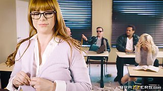 Vivacious redhead bomb Penny Pax fucking in a classroom
