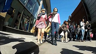 Street voyeur following attractive amateur babes upskirt