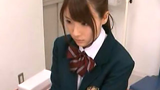 Rui Satome is an Asian beauty in her school uniform