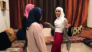 Three muslim besties in hijabs giving head at a party