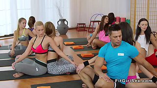 fitness coach fucks two brunettes
