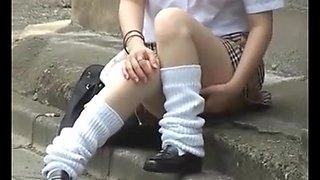 (softcore voyeur)  oriental schoolgirls public upskirt pantys