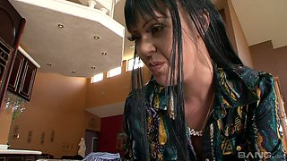 Trashy looking chick Armani Staxxx and her step mom are fucked by BBC