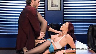 Blindfolded boss bangs busty redhead