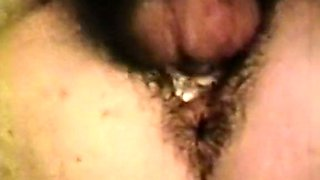 Fine white chick with hairy pussy blows dick of her man outside