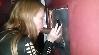 Smokin hot redhead blows a stranger in the GH booth