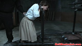 Bound slave screams while cumming