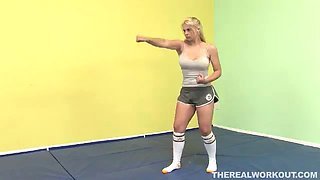 blonde with fighting skills getting nailed on the floor