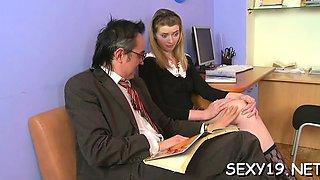 Old teacher is pleasant lovely babe's slit