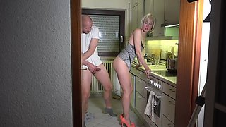 Horny son attacks for the umpteenth time the usual sexy mom in the kitchen